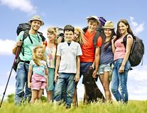 Group people on travel. Group people with children  on travel Royalty Free Stock Images
