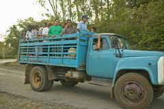 Group of people traveling  in the back of a truck in the Valle de Vi�ales, in central Cuba Royalty Free Stock Photography