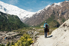 The group of people are on trekking. Annapurna circuit trekking trail, round Annapurna route, Nepal Stock Image