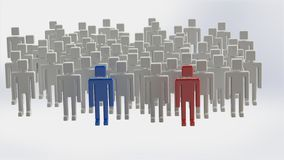 Group of people with two leaders. Illustration using a large number of gray manikins  with two characters one colored blue and the other brown as leader and Stock Photography