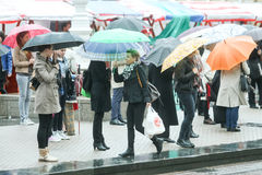 Group of people with umbrellas Royalty Free Stock Photo