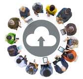 Group of People Using Digital Devices with Cloud Symbol Royalty Free Stock Photos