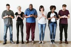 Group of people using mobile phones stock image