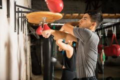 Group of people using speed bag stock photography