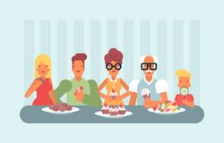 All ages enjoying sweets and Ice cream. A group of people in various age gender and body type enjoying sweets including donut and ice cream Stock Image