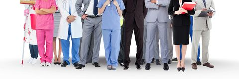 Group of People with various jobs careers standing with white background Royalty Free Stock Image
