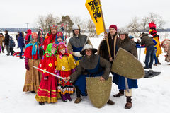 Group of people in vintage clothes during Maslenitsa celebration. Russia Stock Image