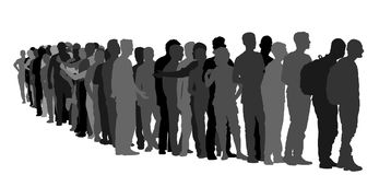Group of people waiting in line  silhouette. Border situation in EU. Royalty Free Stock Image