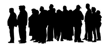 Group of people waiting in line vector silhouette. Stock Photo