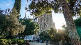 Group of People Walking in Front of Sagrada Familia Cathedral Stock Images