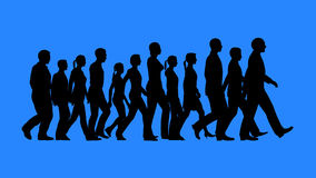 Group of people walking silhouettes Royalty Free Stock Image