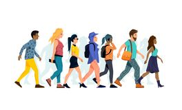 A Group A People Walking stock illustration