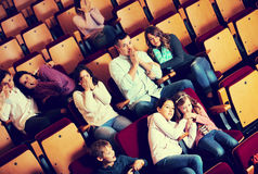 Group people watching movie night for horror Royalty Free Stock Photography