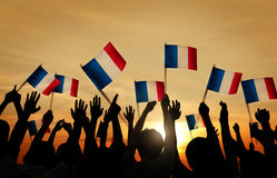 Group of People Waving French Flags Royalty Free Stock Photography