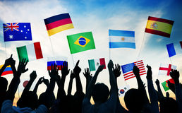 Group of People Waving National Flags Royalty Free Stock Image