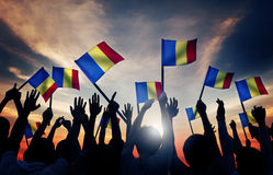 Group People Waving Romanian Flags Back Lit Concept Stock Image