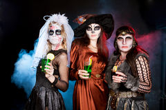 Group of people  wearing for Halloween Royalty Free Stock Photography