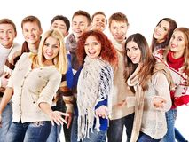 Group people wearing winter clothes. Stock Photos