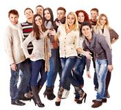 Group people wearing winter clothes. Royalty Free Stock Image