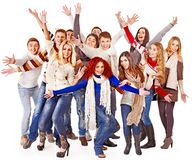 Group people wearing winter clothes. Stock Photo