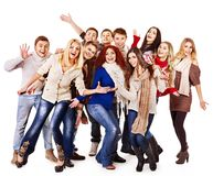 Group people wearing winter clothes. Stock Image