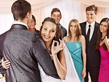 Group people at wedding dance. Stock Photography