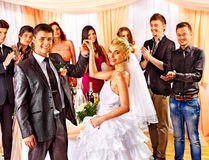 Group people at wedding dance. Stock Photos