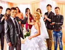 Group people at wedding dance. Stock Photos