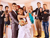 Group people at wedding dance. Stock Images