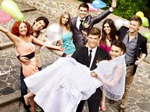 Group people at wedding outdoor. Stock Photo