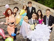 Group people at wedding outdoor. Royalty Free Stock Image