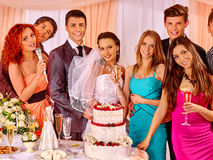 Group people at wedding singing song. Happy group people with cake at wedding singing song royalty free stock image