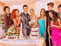Group people at wedding singing song. Happy group people at wedding singing song. Table with food royalty free stock images