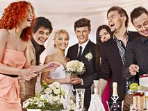 Group people at wedding table. Stock Image