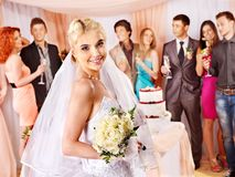 Group people at wedding table. Royalty Free Stock Image
