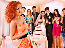 Group people at wedding table. Royalty Free Stock Photography