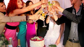 Group people at wedding table. stock video footage