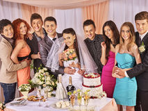 Group people at wedding table Stock Images