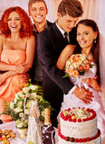 Group people at wedding table Stock Image