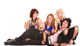 Group people with white wine. Stock Photos