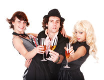 Group people with white wine. Royalty Free Stock Images