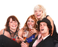 Group people with white wine. Stock Photo