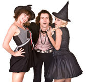 Group of people in  witch costume. Royalty Free Stock Images