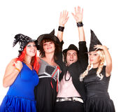 Group of people in witch costume. Stock Photo