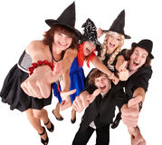 Group of people in  witch costume. Isolated Stock Photography