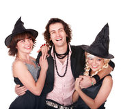 Group of people in  witch costume. Royalty Free Stock Photos