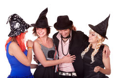 Group of people in  witch costume. Royalty Free Stock Photography
