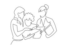 Group of people working continuous one line vector draw. Students preparing to exams. Doing homework hand drawn characters. Coworking. Job meeting, discussion royalty free illustration