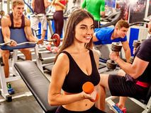 Group of people  working with dumbbells  at gym Stock Photography