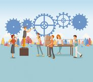 Group of people working on gear wheel. Cogwheel on colorful forest. stock illustration